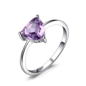 1.20 ct Trillion AMETHYST Solitaire Silver Ring